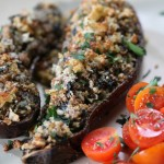 Munahi Kousa (Stuffed eggplant with rice, meat, and chickpeas)